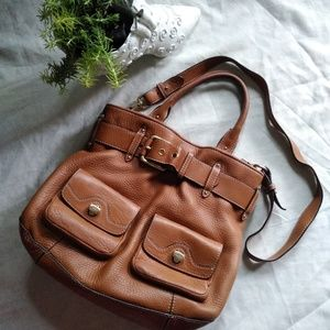 Cole haan cross body purse, brown color